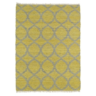 Handmade Natural Fiber Canyon Yellow Lattice Rug (8'0 x 11'0)