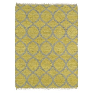Handmade Natural Fiber Canyon Yellow Lattice Rug (8'0 x 11'0)