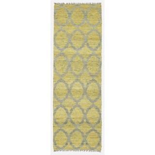 Handmade Natural Fiber Canyon Yellow Lattice Rug (2'0 x 6'0)