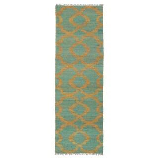 Handmade Natural Fiber Canyon Turquoise Trellis Rug (2'6 x 8'0)