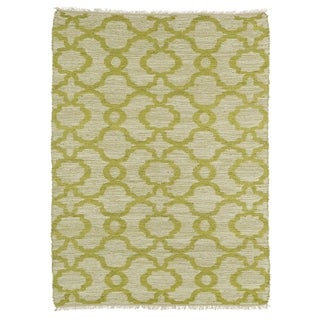 Handmade Natural Fiber Canyon Lime Green Trellis Rug (7'6 x 9'0)
