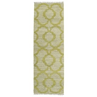Handmade Natural Fiber Canyon Lime Green Trellis Rug (2' x 6')