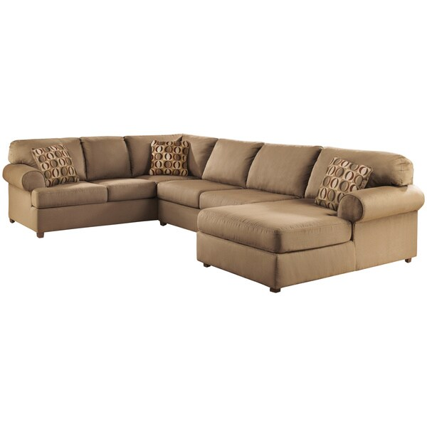 Shop Art Van Cowen 3 Piece Mocha Sectional Sofa Free