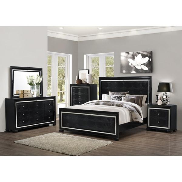 Shop Art Van 6-piece Black Crocodile Finish Queen Bedroom Set - Free ...