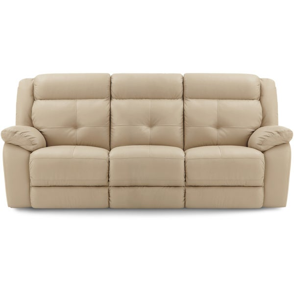 Shop Art Van Taupe Leather Reclining Sofa Free Shipping