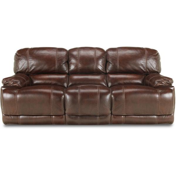 Shop Art Van Reclining Burgundy Leather Sofa - Free Shipping Today ...