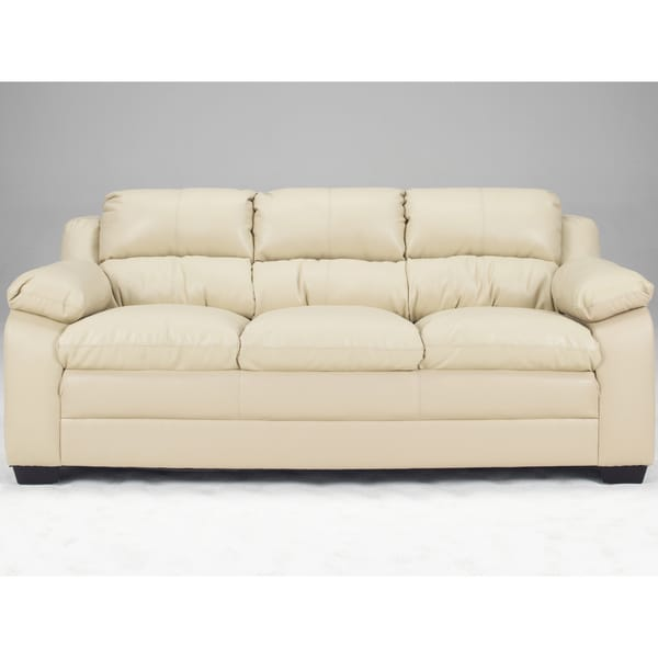 Art Van Maddox Natural Finish Blended Leather Sofa