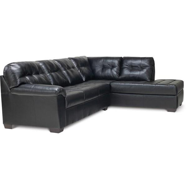 Art Van Soho 2 Piece Black Blended Leather Sectional Sofa