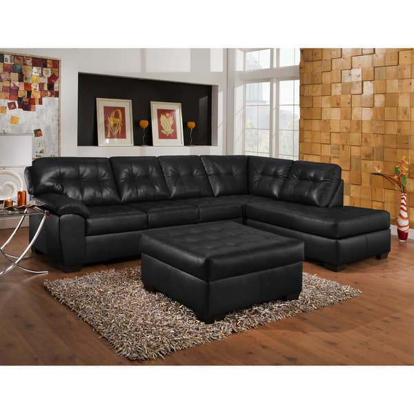 Incredible Shop Art Van Soho 2 Piece Black Blended Leather Sectional Theyellowbook Wood Chair Design Ideas Theyellowbookinfo