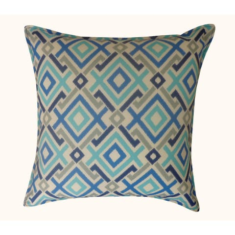 Jiti Blue Geometric Square Block Pillow - 20 x 20 - 20 x 20
