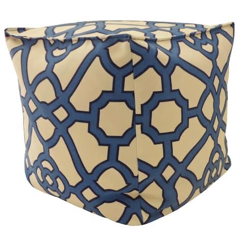 """Handmade 16"""" Octagon Blue Outdoor Ottoman"""