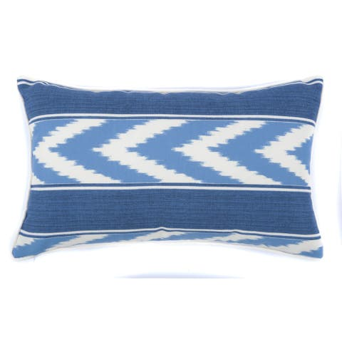 Jiti Blue Ikat Stripe Sunbrella Lumbar Outdoor Pillow - 12 x 20 - 12 x 20