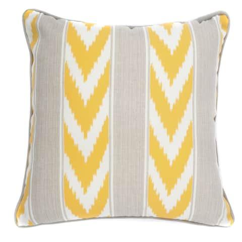 Jiti Yellow Ikat Stripe Sunbrella Outdoor Pillow - 20 x 20 - 20 x 20