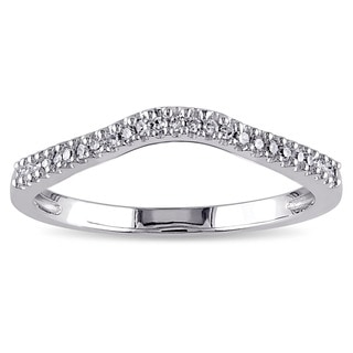 Miadora 14k White Gold 1/10ct TDW Diamond Contour Wedding Band