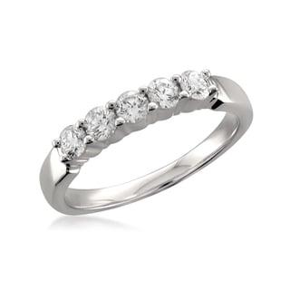 Montebello 18k White Gold 1/2ct TDW Round-Cut Diamond Wedding Band (F-G, VS1-VS2)