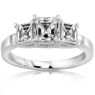 Annello by Kobelli 14k White Gold 1 1/2ct TDW Certified Asscher Diamond Engagement Ring