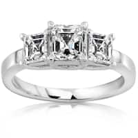 Annello by Kobelli 14k White Gold 1 1/2ct TDW Certified 3-Stone Asscher Diamond Engagement Ring