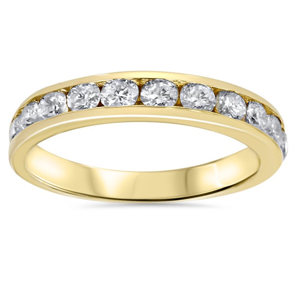 14k Yellow Gold 1ct TDW Channel-set Diamond Wedding Band