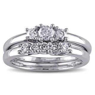 Miadora 10k White Gold 2/5ct TDW Diamond Bridal Ring Set