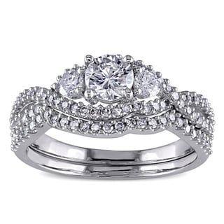 Miadora Signature Collection 14k White Gold 1 1/8ct TDW Certified Diamond Bridal Ring Set