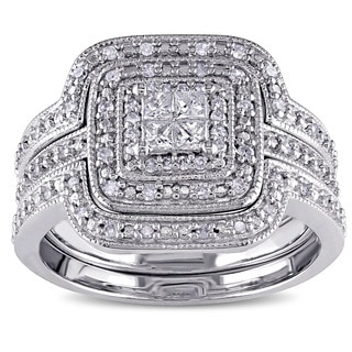 Miadora Sterling Silver 3/8ct TDW Diamond Princess-cut Halo 3-piece Bridal Ring Set