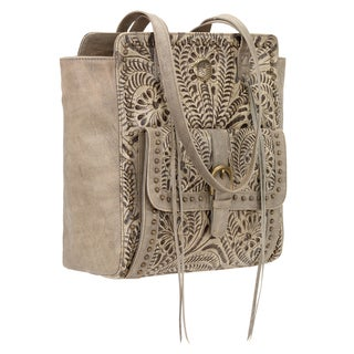 American West Shane Sand Leather Zip Top Tote Bag