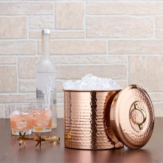 Old Dutch Hammered Decor Copper 3-quart Ice Bucket with Liner and Tongs