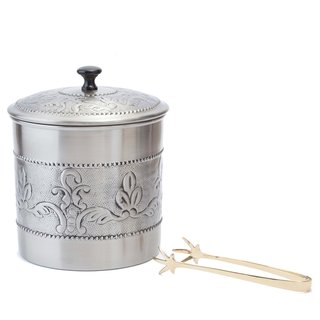 Old Dutch Antique Embossed 'Victoria' 3-quart Ice Bucket with Liner and Tongs