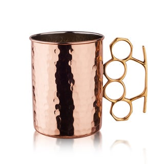 Old Dutch Solid Copper16 oz. Nickel Lined Hammered 'Brass Knuckle' Moscow Mule Mugs (Set of 4)