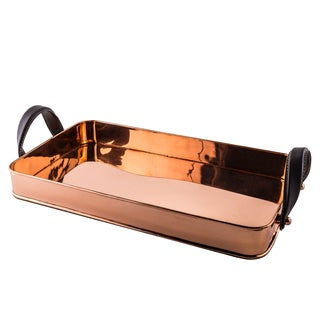 Old Dutch Cheyenne Rectangular Solid Copper Tray with Leather Handles