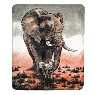 Denali Mother and Baby Elephant Sterling Micro-plush Throw Blanket