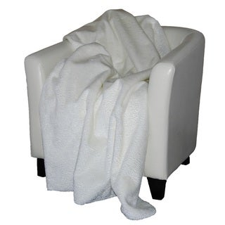 Denali Embossed white Micro-plush Throw Blanket