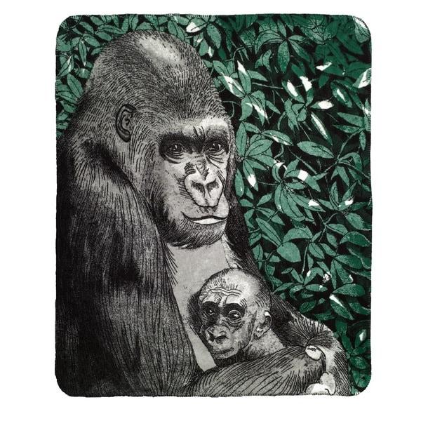 Denali Mother and Baby Gorilla black Micro-plush Throw Blanket