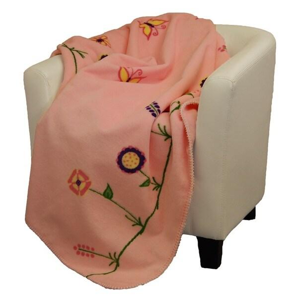 Denali Whimsical floral soft pink soft pink Micro-plush Throw Blanket