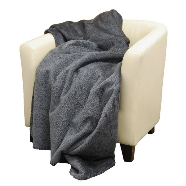 Denali Embossed Denim Micro-plush Throw Blanket