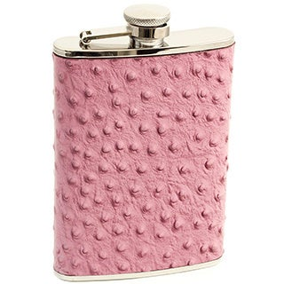 Bey Berk 8-Ounce 'Ostrich' Embossed Leather Flask