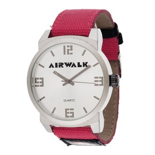 Airwalk Analog Silvertone Case Red Canvas Strap Watch