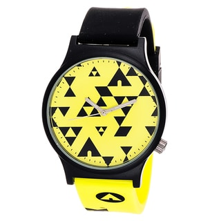 Airwalk Analog Matte Black Case Black and Yellow Silicone Strap Watch