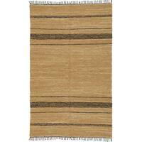 Hand Woven Tan Leather Matador Rug (10'x14') - 10' x 14'