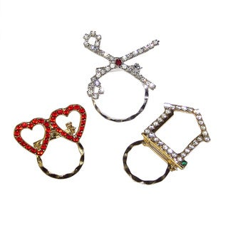 Detti Originals Spec Hearts/ House and Scissors Crystal 3-piece Spectacle Brooch Set