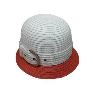 Women's Swan Two-tone Silver Buckle Straw Braid Bucket Hat