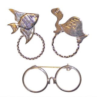 Detti Originals SPEC Fish/ Turtle and Glasses Silvertone 3-piece Spectacle Brooch Set