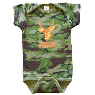 Rocket Bug 'I'm Told I Like Hunting' Cotton Camo Baby Bodysuit
