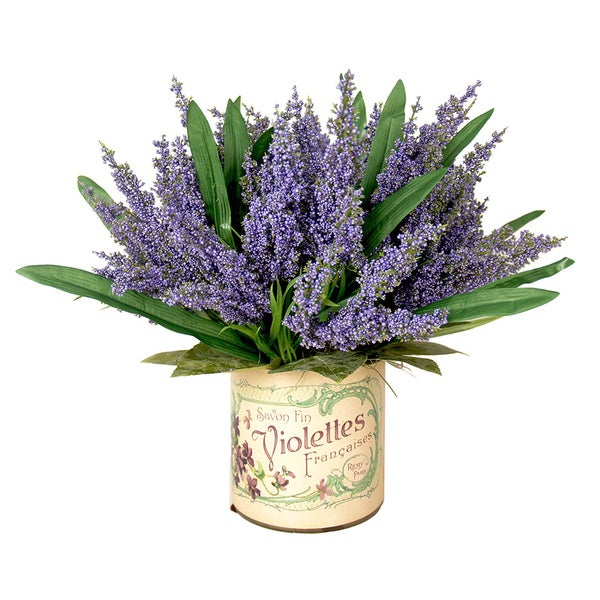 Handcrafted Arrangement of Realistic Looking Lavender Heather with Lemon Leaves in Vintage-labeled Glass Vase