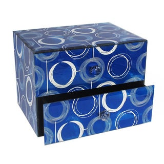 Circles Blue/ White 2-drawer Jewelry Box