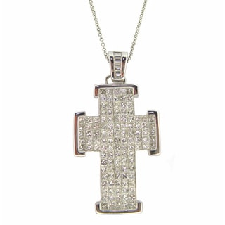 Kabella 18k White Gold 3ct TDW Diamond Cross Necklace (G-H, SI1-SI2)