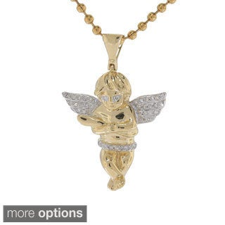 10K Yellow Gold 0.20ct TDW Diamond Angel Pendant (G-H, I2- I3)