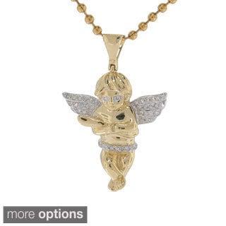 10K Yellow Gold 0.20ct TDW Diamond Angel Pendant (G-H, I2- I3)