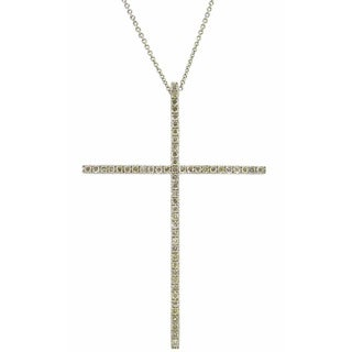 Kabella 18k White Gold 5/8ct Diamonds Cross Necklace (G-H, SI1-SI2)