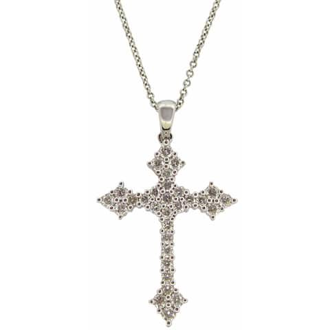 Kabella 18k White Gold 3/5ct Diamond Cross Necklace (G-H, SI1-SI2)